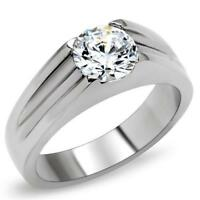 Mens solitaire ring cz cubic zirconia unisex signet pinky stainless steel 193