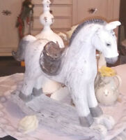 Schaukelpferd Weiß Silber 34x37cm Christmas Weihnachten Brocante Shabby Vintage