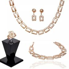 Four Piece Alloy Jewelry Set B3 New Women'S Polished Gold Rhinestone Fashion