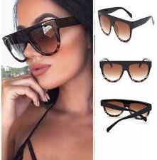 e0f4274e9b0d5 Black Leopard Oversized Shadow Sunglasses Flat Top Shield Women s Ladies  Quality