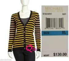 MICHEL KORS $130 NEW Navy Gold Combo V-Neck Button Up Cardigan Sweater XL QCO
