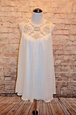 Modcloth Ivory Shift dress Embroidered bodice NWT M En Creme Blue tan