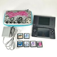 Nintendo DSi TWL-001 Handheld System Bundle - Black - 6 DS Games - Charger/Case
