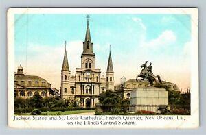 New Orleans LA-Louisiana Jackson Statue, IL Central Advertising Vintage Postcard