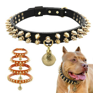 Leather Dog Collar Large Dogs with Studs/Spikes+Bell Boxer Pitbull Rottweiler