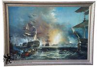 "Battle of Quiberon Monumental British Maritime Nautical Naval Oil Painting 80"""