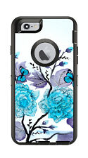 Skin Decal Wrap for Iphone 6 6S Otterbox Defender Case Blue Flowers Butterflies