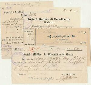 MALTA-EGYPT 4 Receipts Maltese Charity Society in Cairo with Cachets 1917-19