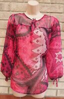 MARKS SPENCER PINK BLACK BAROQUE FLORAL TIE NECK TUNIC CAMI BLOUSE TOP 12 M
