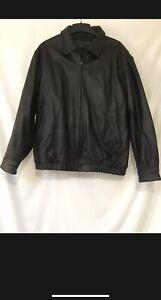 Men's St. Johns Bay Black Leather Zipper Front Jacket Coat Size Xl