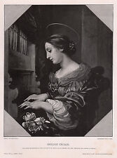 """Superb 1800s CARLO DOLCI Woodcut """"St. Cecilia Patroness of Musicians"""" SIGNED COA"""