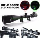 Hunting 6-24x50 AOEG Optical Rifle Scope Red Green Dual illuminated Gun Scope