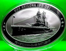 USS ARIZONA OVAL COMMEMORATIVE COIN PROOF MILITARY