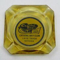 Vintage Crystal Bay Club Casino Amber Glass Advertising Ashtray Lake Tahoe NV