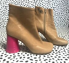 MM6 MAISON MARGIELA Leather ankle boots RETAIL $567 pink heel retro style 39