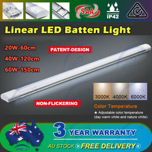 LED Batten Light 20W 40W 60W Ceiling Linear IP65  Microwave Sensor Optional