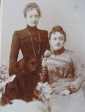 Antique Cdv photo German Spitz Pomeranian on sheep skin ladies Signed Studio *