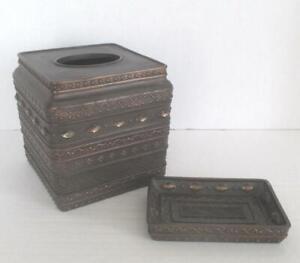 Bronze Bed Bath & Beyond Tissue Box Cover & Soap Dish Tambora India Ink Ornate