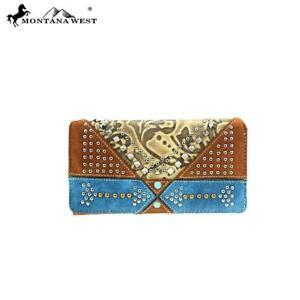 Montana West Arrow Turquoise Aztec Trifold Zipper Womens Western Wallet