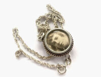 "Antique Silver Glass Photo Locket Pendant 16"" Chain Necklace GIFT BOXED"