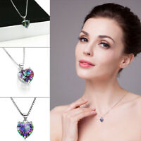 Mystic 925 Silver Chain Necklace Jewelry Gift Rainbow Heart-shaped Topaz Pendant