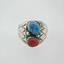 Coral Stone Ring Size 11 Sterling Silver Turquoise Stone Red