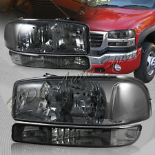 For 2000-2006 GMC Yukon XL 1500 2500 Smoke Headlights+Bumper Signal Lamps 4-PCS