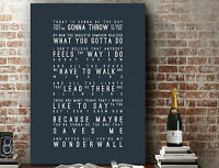 OASIS Wonderwall | Poster Wall Art SONG LYRICS GIFT | Print or Canvas