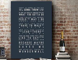 OASIS Wonderwall | Poster Wall Art SONG LYRICS GIFT | Print or Canvas