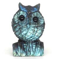 "2.7"" Owl Figurine Natural Gemstone Labradorite Crystal Carved Animal Craft Decor"