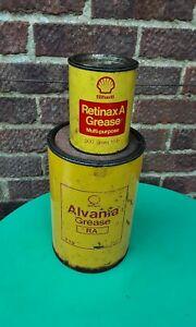 VINTAGE SHELL GREASE TIN CANS  retinax & alvania empty