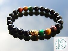 Buddha Mix Rasta Natural Gemstone Bracelet 7-8'' Elasticated Healing Stone