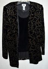 JBS Black Velvet w/ Gold Sparkles Blazer Jacket Attached Black Velvet Shell Sz L