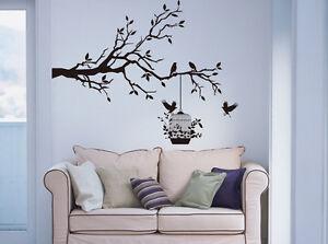 Tree Branch with Birds & Cage Art Vinyl Wall Sticker DIY Wall Decal Tree Sticker