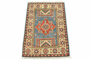 Geometric Kazak 2'x3' Blue Wool Hand-Knotted Oriental Rug