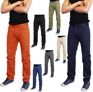 Mens Chino Trouser Jeans D&H Stretchy 32'' Leg Slim Fit Jeans 28-40 Waist