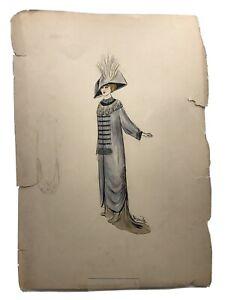 Alfred Lenief Dessin de mode art Deco ( Robe longue, manteau et chapeau)