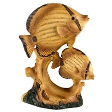 """Tropical Angelfish Fish Faux Carved Wood Look Figurine Resin 4.25"""" High New"""