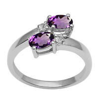 Solid 925 Sterling Silver 0.86 Ctw Amethyst Dual Gemstone Stackable Wedding Ring