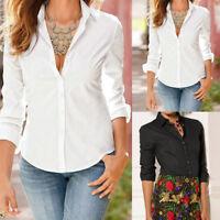 Womens Turn Down Collar Blouse Elegant Long Sleeve Ladies Office Work Shirt Tops