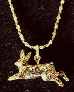 * RABBIT Running 24 kt Gold Pendant & FREE 18 kt Chain * Made in the USA *
