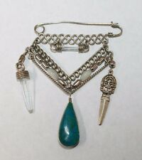 Brooch Pin - Safety Pin Dangle - Turquoise Color Stone - Crystals - Aztec - Bead