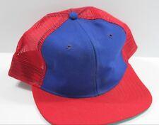Vintage Trucker Hat Blank Blue Red New Era Mesh Snapback USA Made