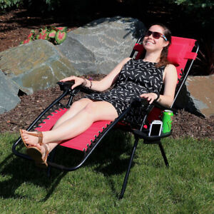 Sunnydaze Zero Gravity Lounge Chair with Detachable Pillow and Cup Holder - Red