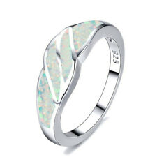 Popular Silver butterfly White Fire Opal Jewelry Valentine's Day Ring Size 8
