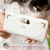Anime Sailor Moon Luna Cat Wallet PU Women Card Holder Handbag Zipper Long Purse