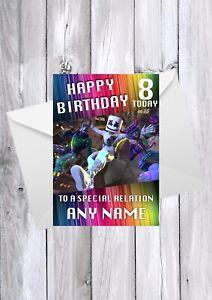FORTNITE MARSHMELLO Birthday card / Any name/age/relation