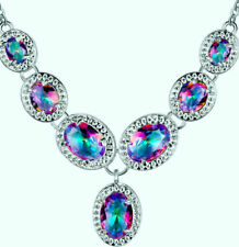 Beautiful 925 Silver Plated Mystic Topaz Necklace with Pendant