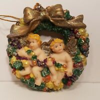Cherubs Fruit Wreath Christmas Ornament Tree Hanging Ornaments Set of Two
