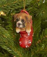 Dog & Cat Ornaments Christmas Tree Ornament Holiday Decor Boxer in Stocking